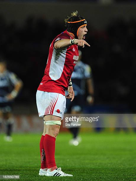 Welsh forward Michael Hills makes a point during the Aviva Premiership match between Sale Sharks and London Welsh at Salford City Stadium on...