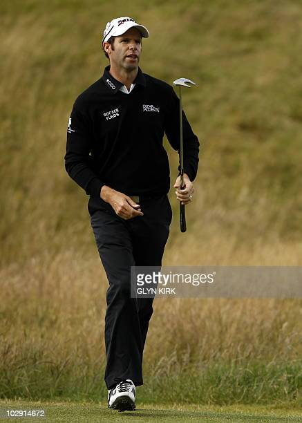 Welsh golfer Bradley Dredge on the 17th Green during his opening Round on the first day of the British Open Golf Championship at St Andrews in...