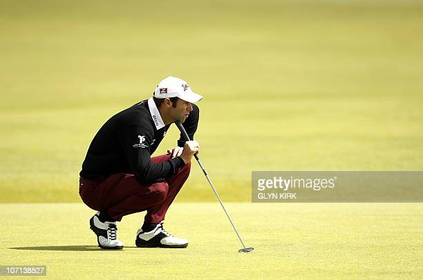 Welsh golfer Bradley Dredge on the 1st Green during his third round on day three of the British Open Golf Championship at St Andrews in Scotland on...