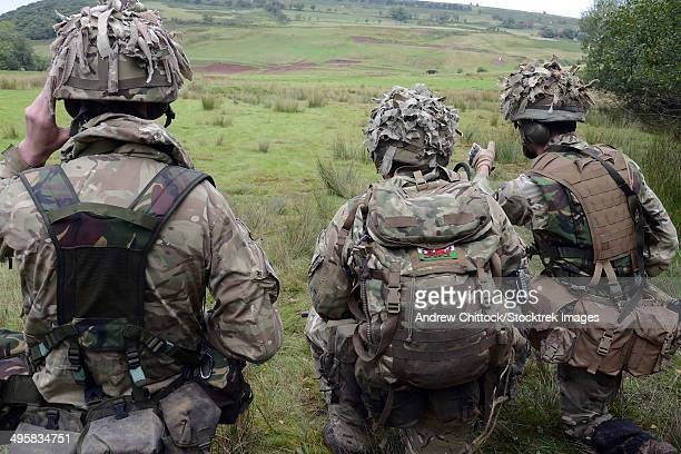 Welsh Guards training at the Sennybridge training area, Powys, Wales, United Kingdom.