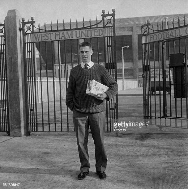 Welsh international and West Ham United football player Phil Woosnam at the gates to the Boleyn Ground London 7th November 1960