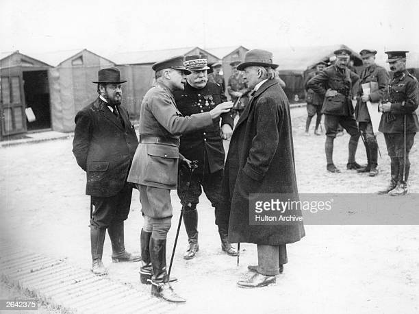 Welsh Liberal statesman and prime minister David LloydGeorge at the 14th Army Corps headquarters at Mesulte with the commanderinchief of the British...