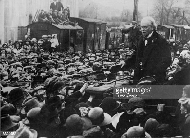 Welsh Liberal statesman David Lloyd George created 1st Earl Lloyd George of Dwyfor in 1945 British prime minister from 1916 to 1922 addressing a...