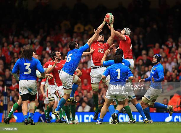 Welsh locks Bradley Davies and Luke Charteris of Wales win the ball during the RBS Six Nations Championship between Wales and Italy at Millennium...