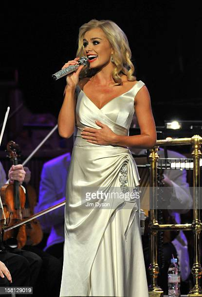 Welsh mezzosoprano Katherine Jenkins performs live on stage at the Royal Albert Hall during her 'This Is Christmas' tour on December 10 2012 in...