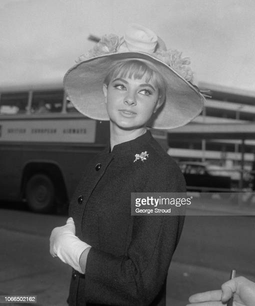 Welsh model and showgirl Mandy RiceDavies at Heathrow Airport London UK June 1963