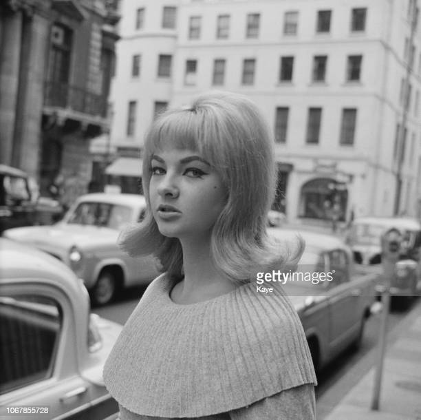 Welsh model and showgirl Mandy RiceDavies best known for her role in the Profumo affair London UK 1st July 1963