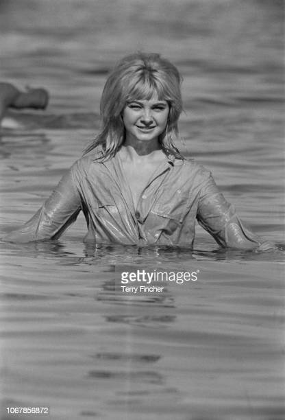 Welsh model and showgirl Mandy RiceDavies best known for her role in the Profumo affair in Mallorca Spain 3rd July 1963