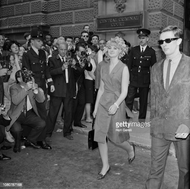 Welsh model and showgirl Mandy RiceDavies currently involved in the Stephen Ward court case and Profumo Affair pictured leaving the Central Criminal...