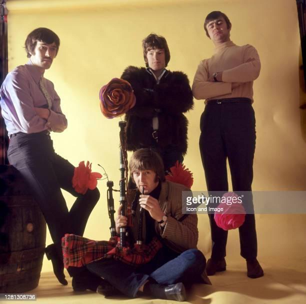 Welsh multi-instrumentalist Spencer Davis , English singer, keyboard and guitar player Steve Winwood, English drummer Pete York, and English bassist...