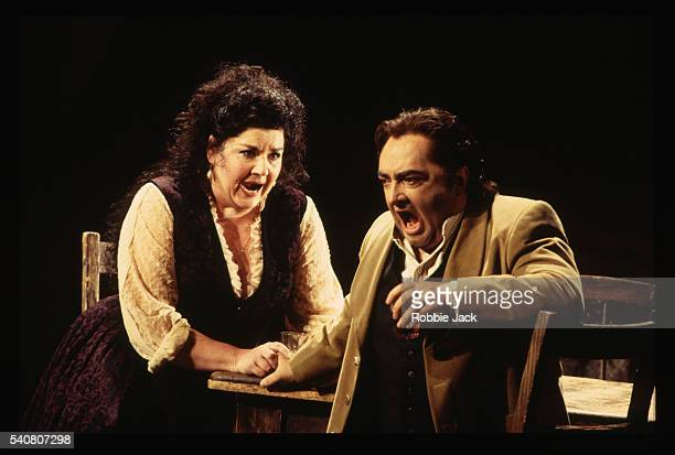 welsh national opera production of cavalleria rusticana - opera singer stock pictures, royalty-free photos & images