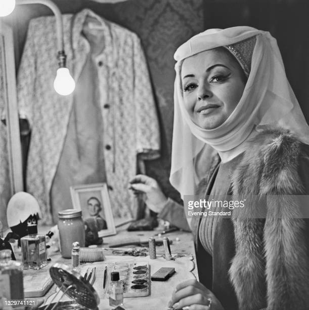 Welsh operatic soprano Gwyneth Jones prepares for her role as Leonora in the Verdi opera 'Il trovatore' at the Royal Opera House in Covent Garden,...