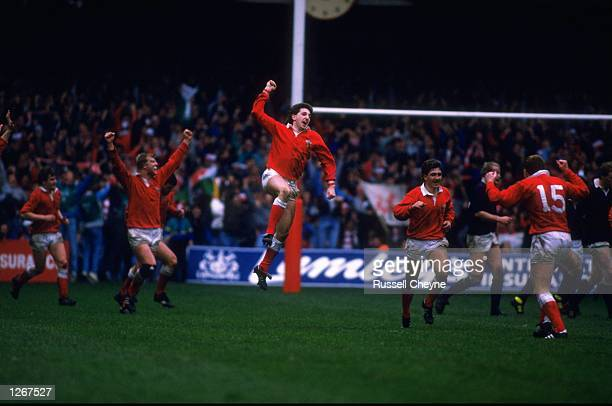 Welsh players including Robert Jones and Paul Thorburn celebrate after Jonathan Davies scores a drop goal during the Five Nations Championship match...