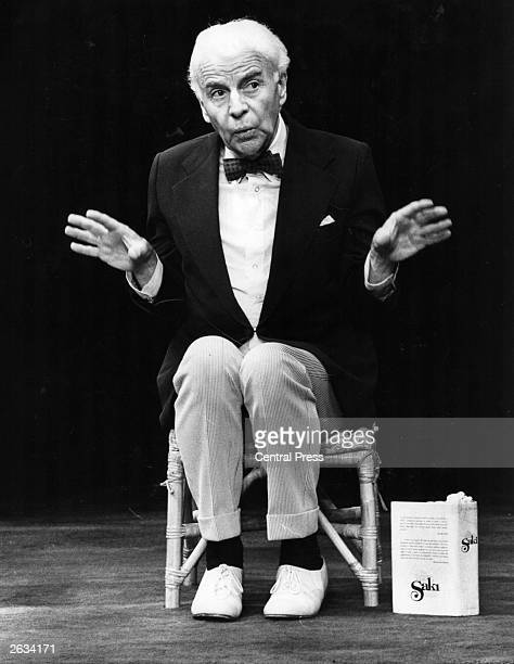 Welsh playwright and actor Emlyn Williams on stage as Saki in his one man performance 'Emlyn Williams As Saki' at the Apollo Theatre a show devised...