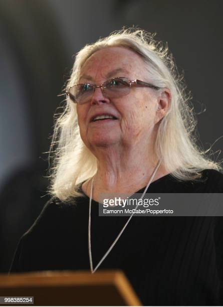 Welsh poet and playwright Gillian Clarke speaking at an event Aldeburgh Suffolk 19th June 2017
