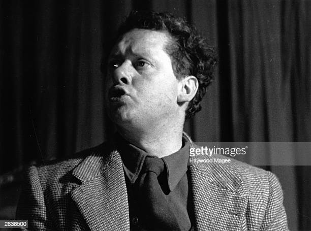 Welsh poet Dylan Marlais Thomas acting as stage manager at the one night performance of Pablo Picasso's play 'Desire Caught By The Tail' at the...
