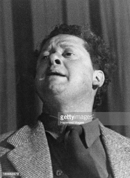 Welsh poet Dylan Thomas acting as stage manager at a onenight performance of Pablo Picasso's play 'Desire Caught By The Tail' at the Rudolf Steiner...