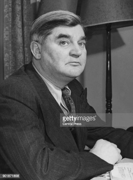 Welsh politician Aneurin Bevan the Minister of Labour and National Service at his desk at the Ministry of Labour in London March 1951