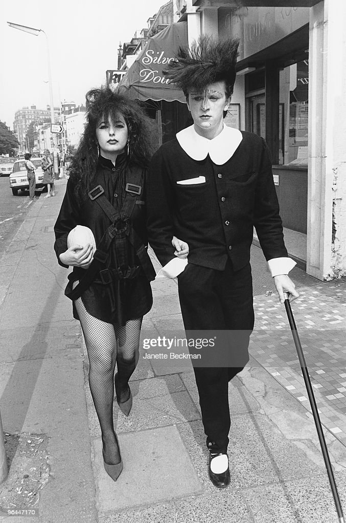 Welsh pop singer and nightclub host Steve Strange (right), with a friend in Covent Garden, London, 1981. Strange is best known as singer with the group Visage.