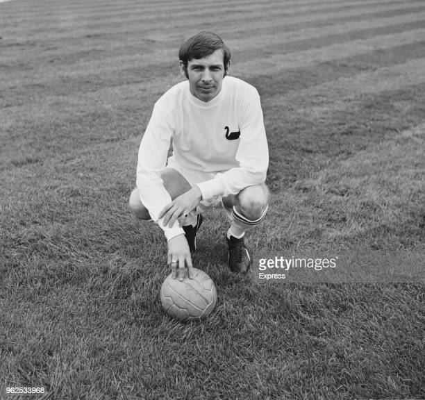 Welsh professional footballer and midfielder with Swansea City Association Football Club Barrie Hole pictured with a ball in training on the pitch at...