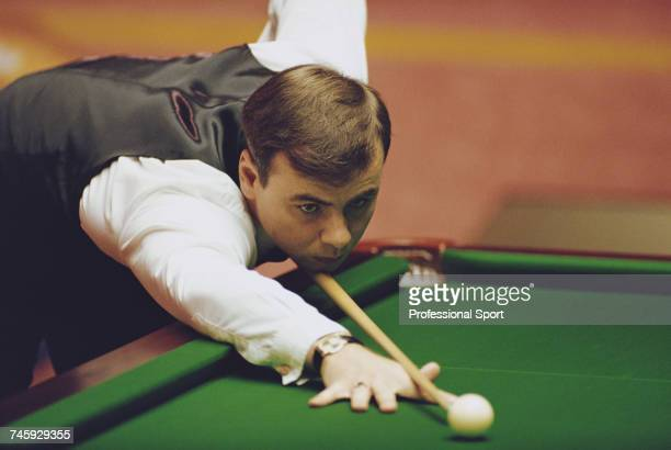 Welsh professional snooker player Darren Morgan pictured in action during competition in the 1993 Embassy World Snooker Championship at the Crucible...