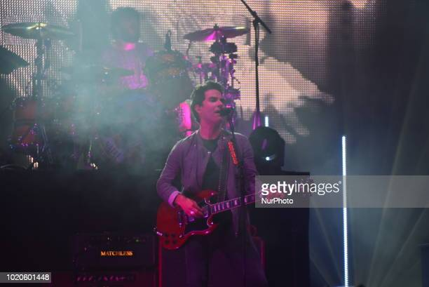 Welsh rock band Stereophonics perform on stage during day two at RiZE Festival in Chelmsford, on August 18, 2018. The band consists of Kelly Jones ,...