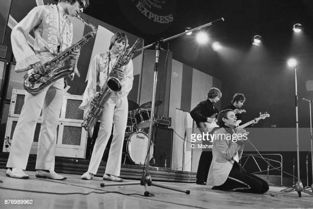 Welsh rock group Amen Corner performing at the Daily Express Record Star Show UK 25th March 1968 Not in order Andy Fairweather Low Neil Jones Allan...