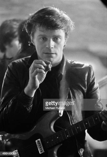 Welsh rock musician Dave Edmunds on the set of Michael Apted's 'Stardust' in which he plays Alex a member of fictional rock group The Stray Cats...