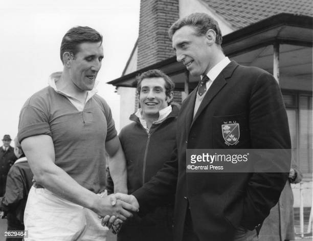 Welsh rugby players Deleme Thomas Gareth Edwards who becomes captain and skipper Brian Price who has to withdraw from the Welsh team for the match...