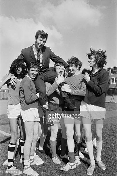 Welsh rugby union player John Dawes the new captain of the British and Irish Lions is carried on the shoulders of his classmates at school UK 22nd...