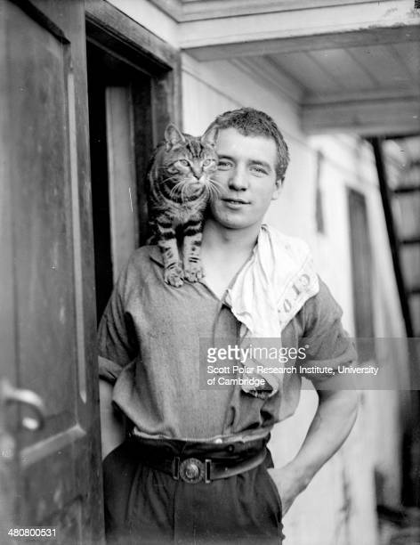 Welsh sailor and stowaway Perce Blackborow and Mrs Chippy the ship's cat during the Imperial TransAntarctic Expedition 191417 led by Ernest Shackleton