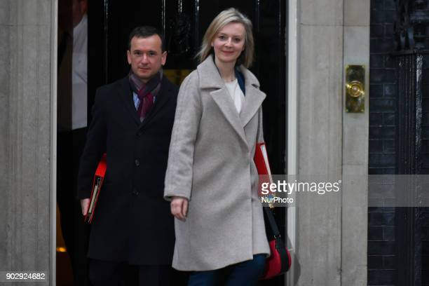 Welsh Secretary Alun Cairns and Chief Secretary to the Treasury Elizabeth Truss leave Downing Street after attending the first Cabinet meeting of the...