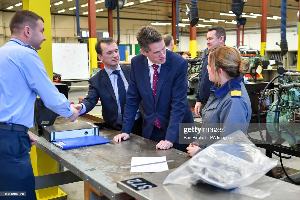 Gavin Williamson visit to MOD St Athan : News Photo