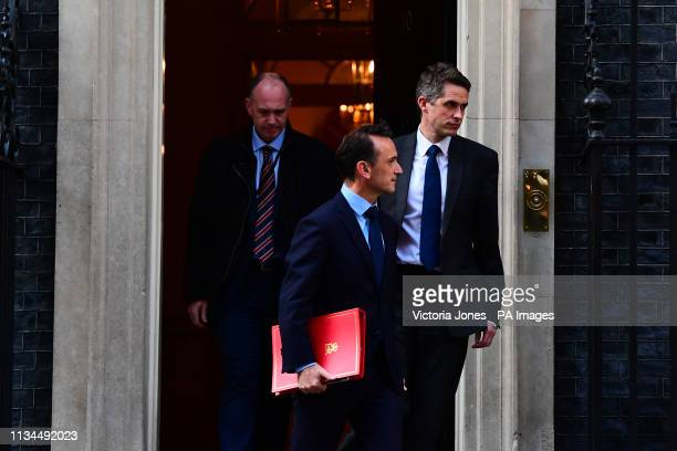 Welsh Secretary Alun Cairns and Defence Secretary Gavin Williamson leaving Downing Street London following a cabinet meeting