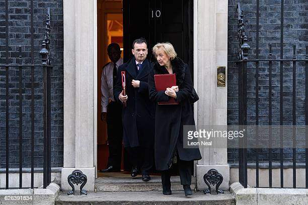 Welsh Secretary Alun Cairns and Environment Secretary Andrea Leadsom leave following a Cabinet meeting at 10 Downing Street on November 29 2016 in...