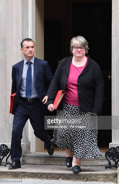 Welsh Secretary Alun Cairns and Work and Pensions Secretary Therese Coffey leave 10 Downing Street London following a Cabinet meeting