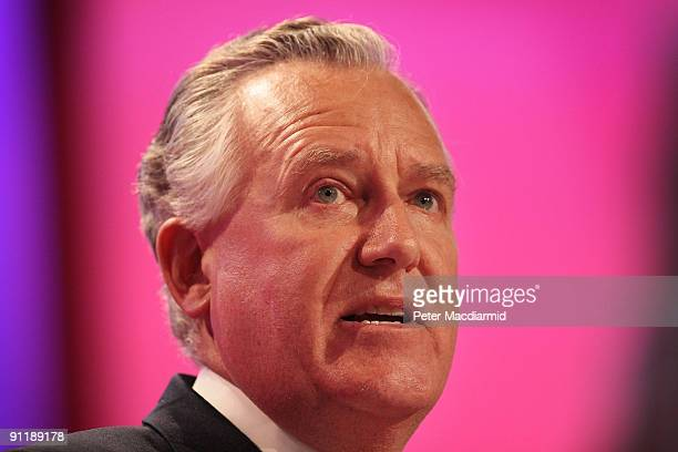 Welsh Secretary Peter Hain speaks at the Labour Party Conference on September 27 2009 in Brighton England Party officials and delegates are gathering...
