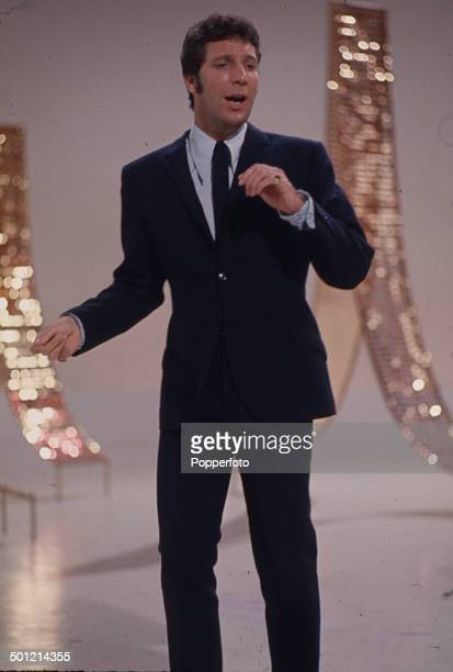 Welsh singer and entertainer Tom Jones pictured performing on the set of the television series 'Secombe And Friends' in 1968