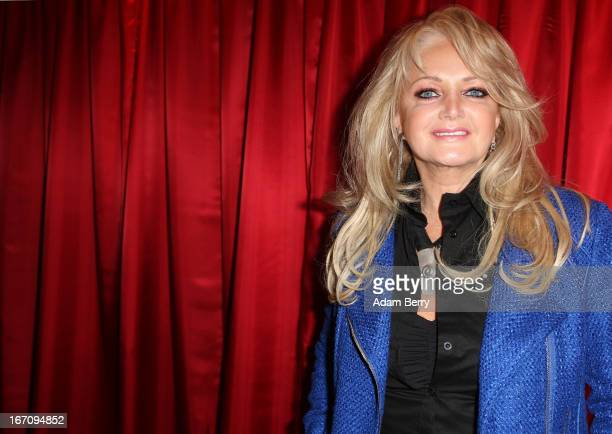 Welsh singer Bonnie Tyler poses prior to the unveiling of wax figures of the members of the Swedish pop group ABBA at Madame Tussauds wax museum on...