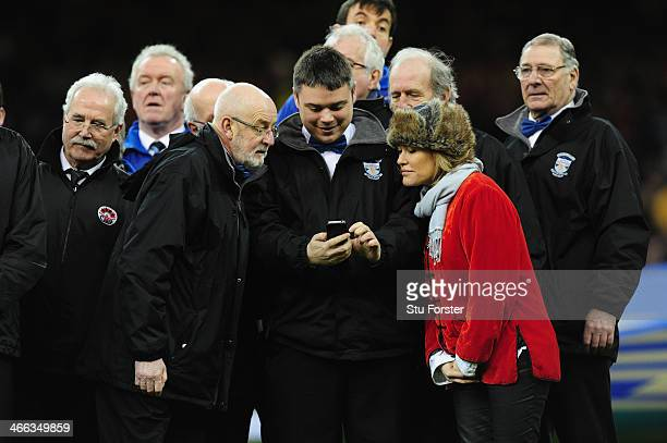 Welsh singer Cerys Matthews with the Male voice choirs before the RBS Six Nations match between Wales and Italy at the Millennium stadium on February...