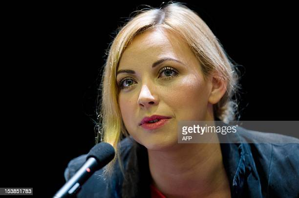 Welsh singer Charlotte Church speaks during a fringe meeting with the Hacked Off Media rights group during the final day of the annual Conservative...