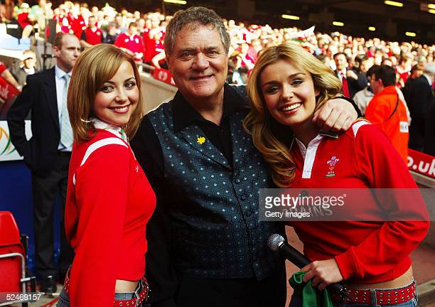 Welsh singer Charlotte Church with singers Max Boyce and Katherine Jenkins at the RBS Six Nations International between Wales and Ireland at The...