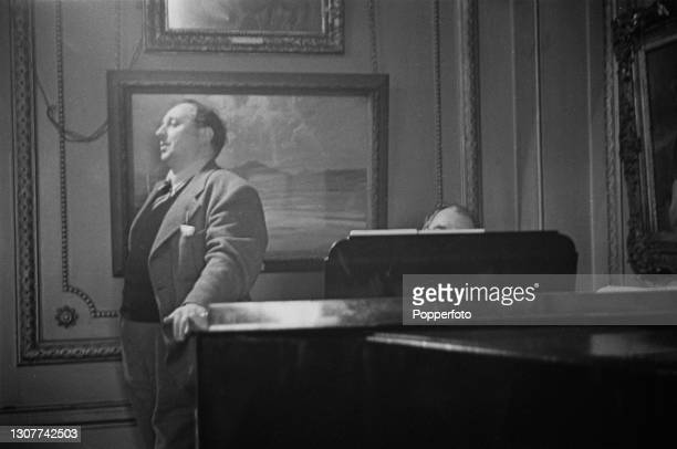 Welsh singer Gwynn Parry Jones performs with a pianist during a dinner at The Savage Club, a gentlemen's club in Carlton House Terrace, London on...