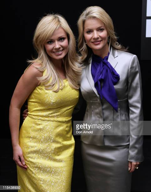 Welsh singer Katherine Jenkins and Sandra Sully attend the official launch celebrating the arrival of the Montblanc Art Bags sculptures at the Martin...