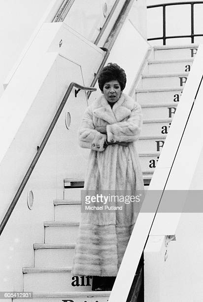 Welsh singer Shirley Bassey arrives at Heathrow Airport London December 1975