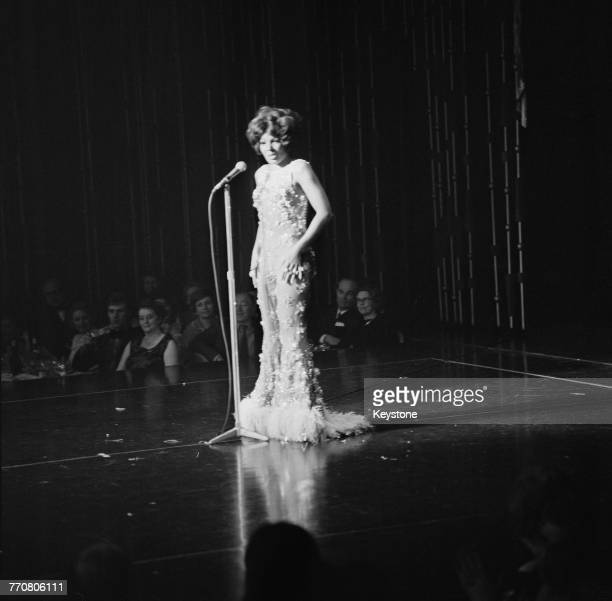 Welsh singer Shirley Bassey performing at The Talk Of The Town nightclub London 14th April 1970