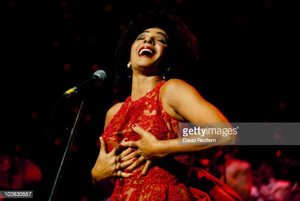 Welsh singer Shirley Bassey performs on stage circa 1979