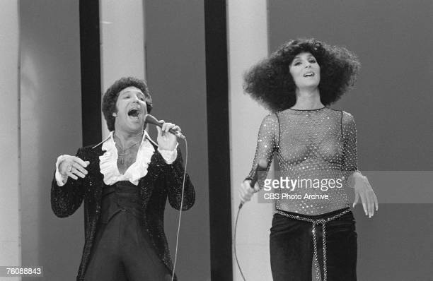 Welsh singer Tom Jones and American singers Cher perform a duet on an episode of 'The Sonny and Cher Show' October 28 1976