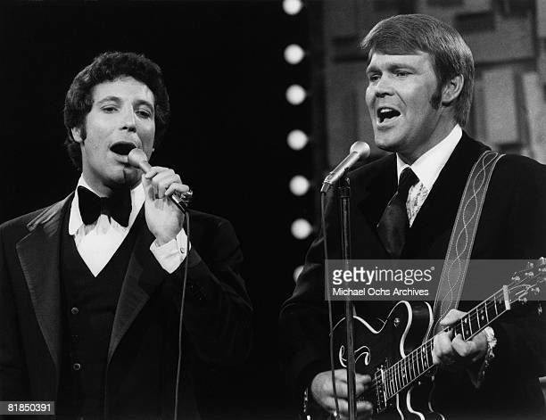 Welsh singer Tom Jones and country singer Glen Campbell perform on the 19691972 television variety show 'The Glen Campbell Goodtime Hour' that aired...