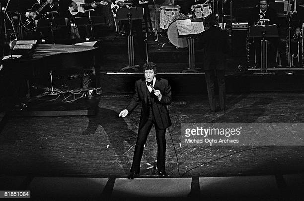 Welsh singer Tom Jones performs at the International Hotel on April 20 1970 in Las Vegas Nevada